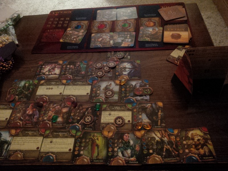 A full pyramid constructed for a solo game below the playmat.