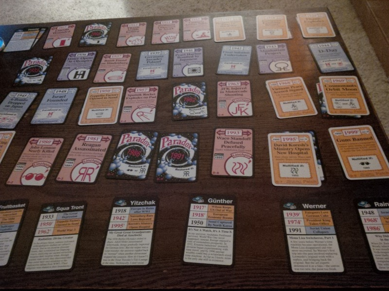 A look at the timeline of Chrononauts, set up for a solo game.