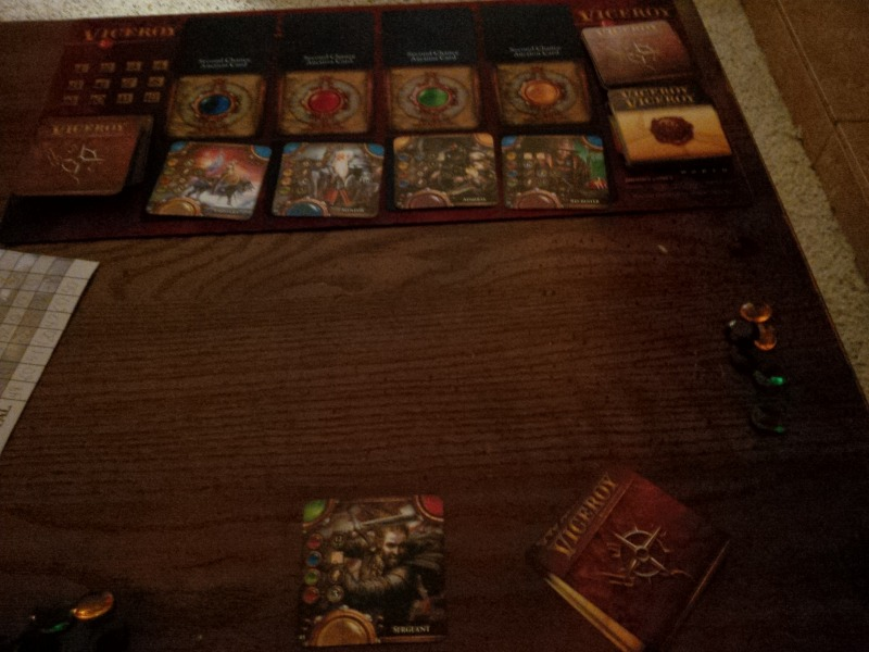 Initial setup for a solo game of Viceroy.