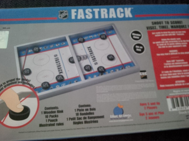 The back side of the NHL Fastrack box.
