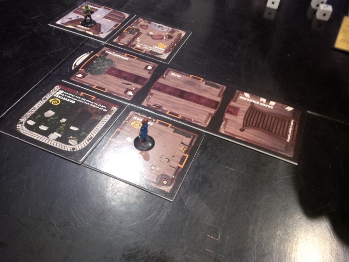 Exploring the mansion in Betrayal at House on the Hill.