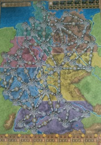 The Germany map, one of the two in the base game of Power Grid.