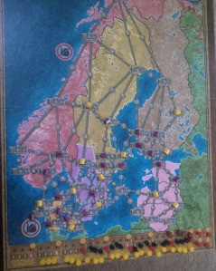 A vertical look at Power Grid's Northern Europe map.
