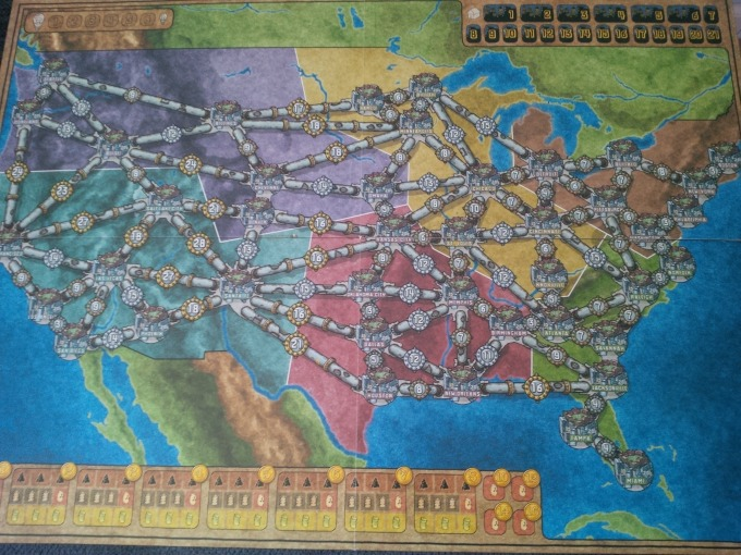 Power Grid's USA map, one of two (with Germany) in the base game.