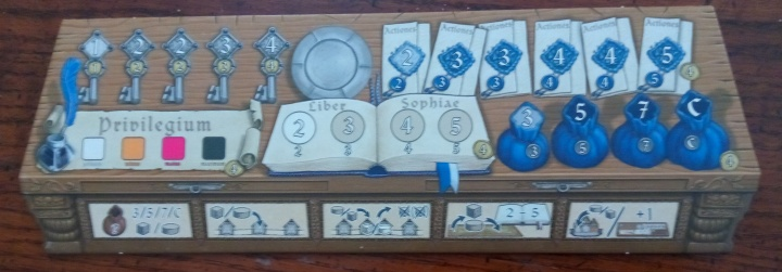 A close-up look at the blue player board.